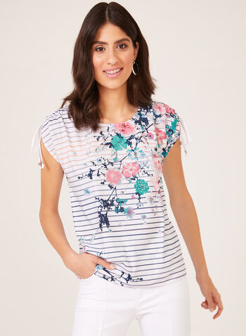 Stripe Print Cold Shoulder T-Shirt, White, hi-res