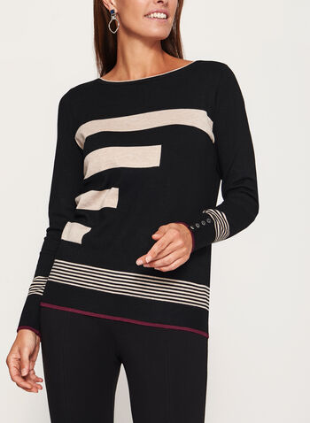 Stripe Print Boat Neck Top, , hi-res