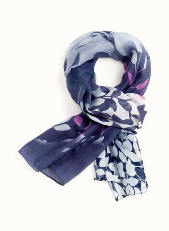 Foulard oblong léger à motif feuilles, Bleu, hi-res