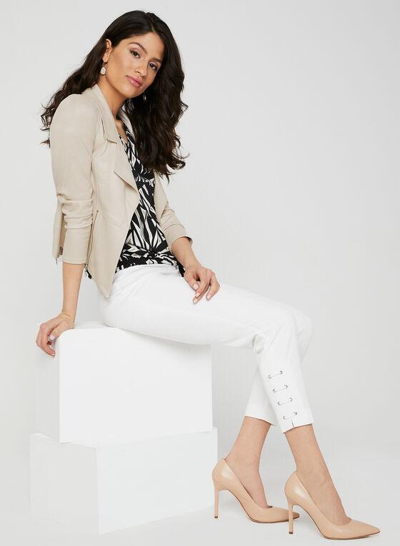 Pantalon coupe cité à détails lacets, Blanc cassé