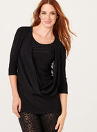 3/4 Sleeve Drape Effect Top , Black, hi-res