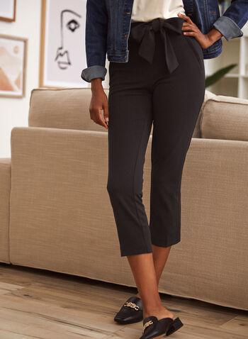 Capri à jambe étroite avec ceinture à nouer, Noir,  capri, pantalon, fait au canada, à enfiler, jambe étroite, ganses, ceinture à nouer, poches obliques, fermoir, printemps été 2021