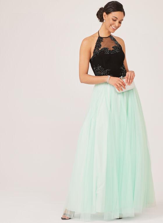 Embellished Mesh Ball Gown, Black, hi-res