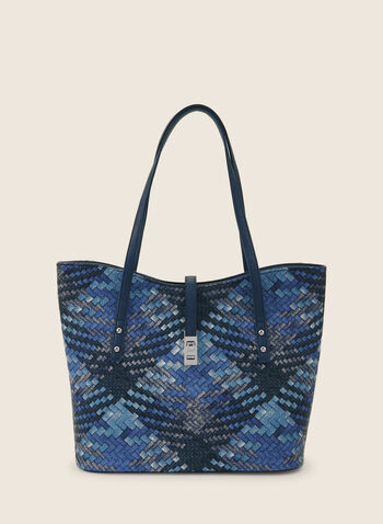 Plaid Print Straw Tote, Blue,  handbag, purse, bag, tote, straw, straw tote, plaid print, spring 2020, summer 2020