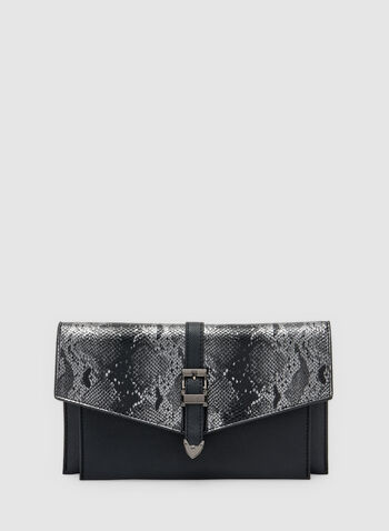 Snake Print Envelope Clutch, Black, hi-res,  chain, shoulder strap, buckle, faux leather, faux snakeskin, fall 2019, winter 2019