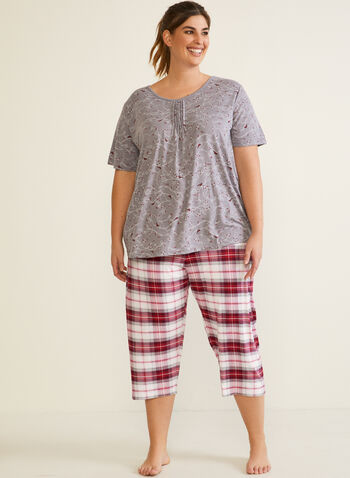 Tartan Print Pyjama Set, Grey,  fall winter 2020, pyjama set