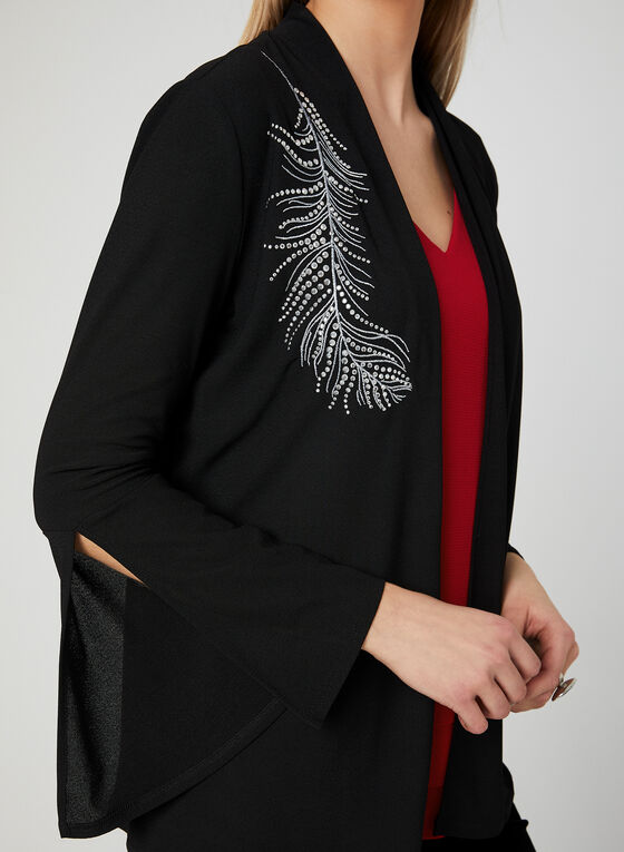 Embroidered Open Front Top, Black, hi-res