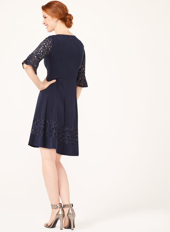 Jessica Howard - Lace Detail Fit & Flare Dress, Blue, hi-res