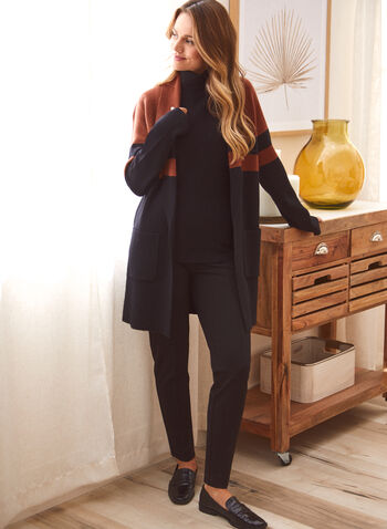 Colour Block Open Front Cardigan, Black,  fall winter 2021, sweaters, tops, knitted, open, color block, stripe print,