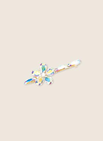 Barrette à fleur en cristal, Or,  barrette, cristal, accessoires, cheveux, fleur, printemps été 2020