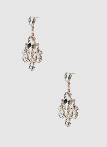 Crystal Cluster Dangle Earrings, Pink, hi-res