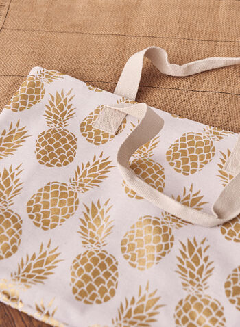Pineapple Motif Beach Bag, White,  spring summer 2021, beach bag, tote bag, large tote, pineapple print, pineapple motif, pineapple, golden, foil print, foil, insulated, cotton, accessories, purse, staycation
