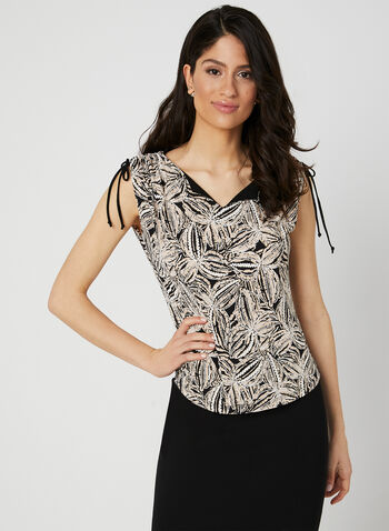 Abstract Print Top, Black, hi-res,  Spring 2019, abstract print, jersey fabric, made in canada, tie detail, sleeveless