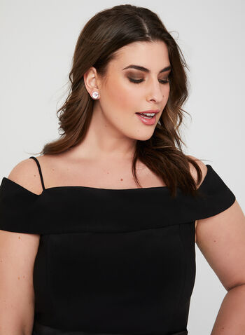 Floral Print Off The Shoulder Gown, Black, hi-res