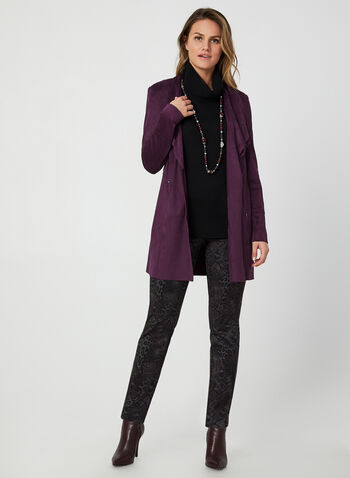 Pantalon coupe moderne en serpent, Violet,  pantalon, pull-on, moderne, serpent, jambe étroite, automne hiver 2019