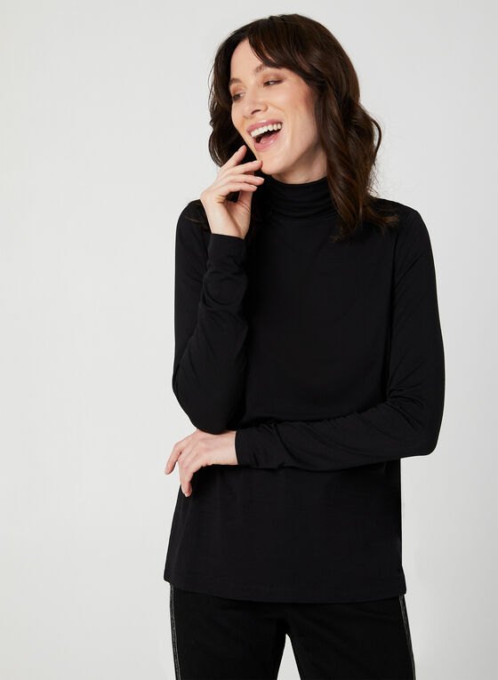 Turtleneck Long Sleeve Top, Black