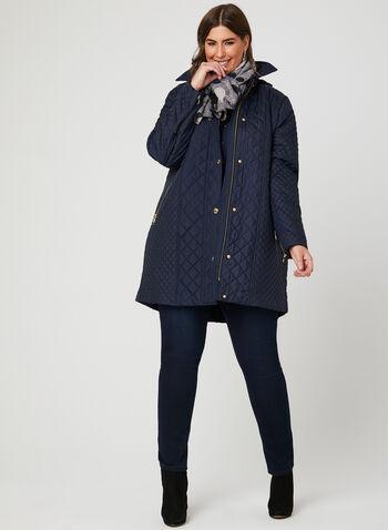 Anne Klein – Quilted Transition Coat, Blue, hi-res