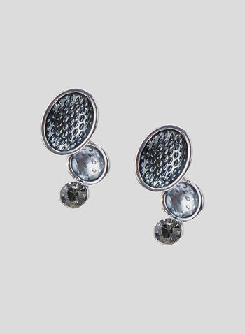 Tiered Crystal Earrings, Grey, hi-res