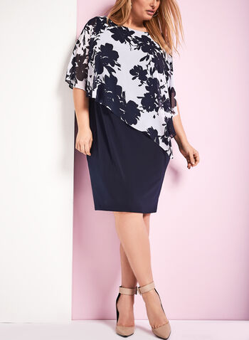 Floral Print Cold Shoulder Poncho Dress, Blue, hi-res