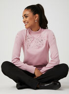 Embroidered Mock Neck Sweater, Pink, hi-res