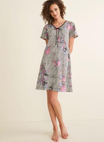 Hamilton - Floral & Leopard Print Nightshirt, White,  pajamas, nightshirt, jersey, leopard, floral, tie, short sleeves, v-neck, spring summer 2020