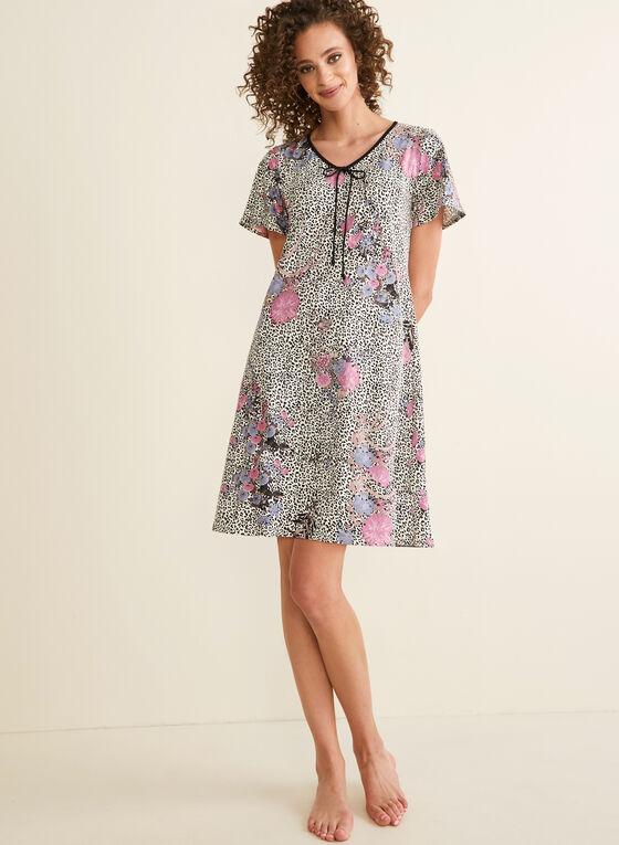 Hamilton - Chemise de nuit zébrée à fleurs, Blanc