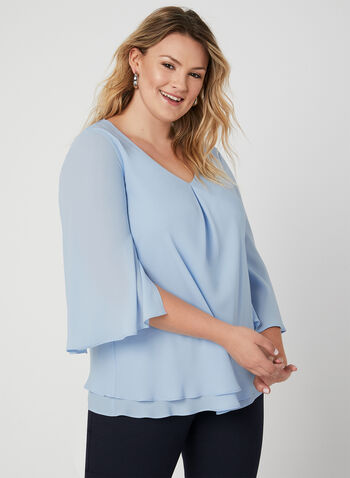 Frank Lyman - Chiffon Blouse, Blue, hi-res,  Canada, online exclusive, Frank Lyman, blouse, chiffon, V-neck, fall 2019, winter 2019