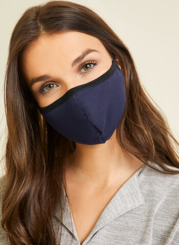 Monochrome Cotton Mask, Blue,  mask, monochrome, cotton, adjustable, washable, reusable, fall winter 2020