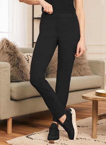 Modern Fit Straight Leg Pants, Black,  pants, modern fit, straight leg, mid rise, stretchy, pleats, spring summer 2021