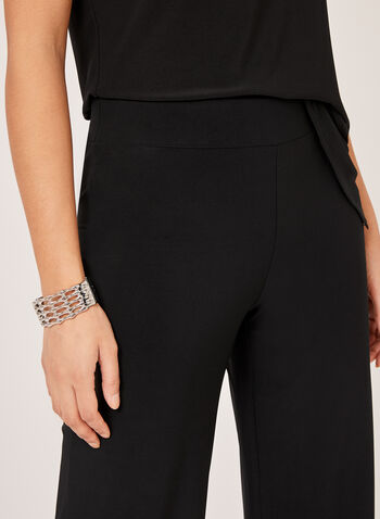 Wide Leg Jersey Pants, Black,  dress pants