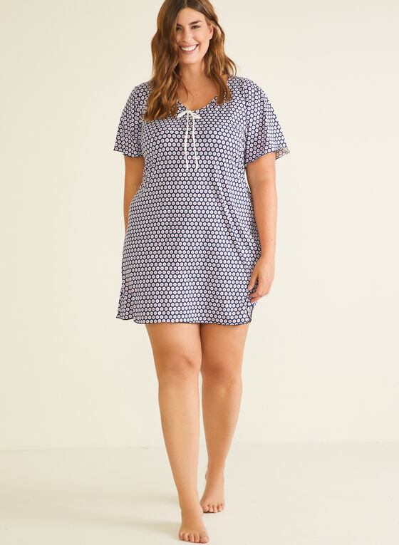 Dotted Print Nightshirt, Blue