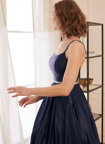 Robe de bal satinée à taille ornementée, Bleu,  robe de bal, sans manches, taille ornementée, fines bretelles, satin, bouffant, dos lacé, poches, printemps été 2021