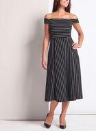 Stripe Off The Shoulder Midi Dress, Black, hi-res