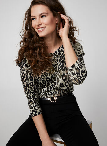 Faux Off-The-Shoulder Leopard Print Top, Black,  canada, top, knit, leopard print, leopard print top, off-the-shoulder, zipper, print top, fall 2019, winter 2019