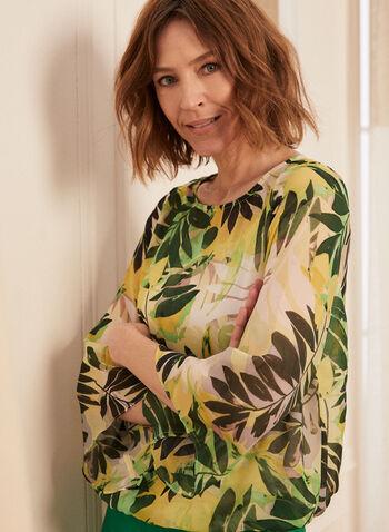 Blouse en mousseline à feuilles de palmier, Vert,  blouse, mousseline, feuilles de palmier, manches ange, camisole, printemps été 2020