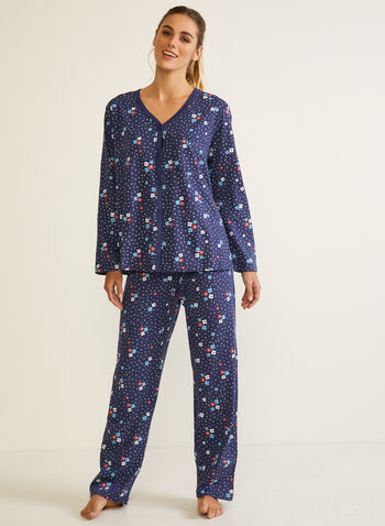 Floral Print Pyjama Set, Blue,  fall winter 2020, pyjama, set, floral print