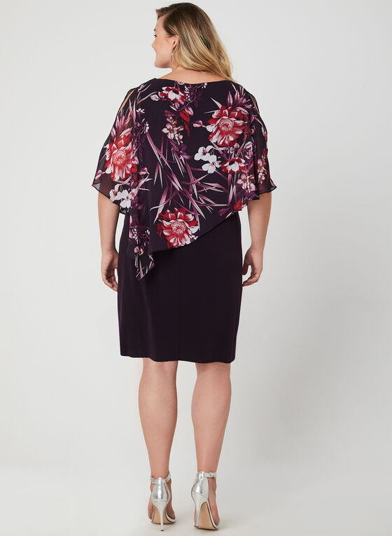 Floral Print Poncho Dress, Purple