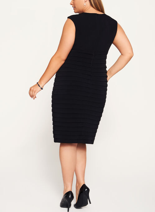 Jersey Shutter Tuck Dress, Black, hi-res