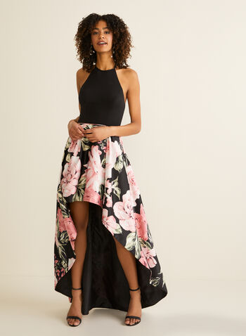 Floral Print Ball Gown, Black,  prom dress, ball gown, halterneck, sleeveless, jersey, satin, floral, pockets, high low, crinoline