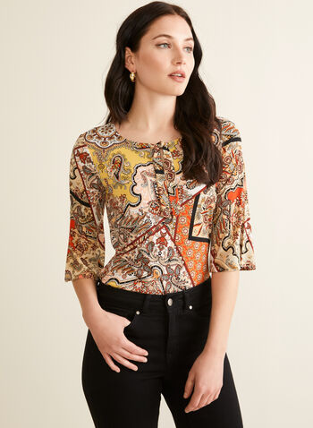 Paisley Print Tie Detail Top, Orange,  top, scoop neck, 3/4 sleeves, tie, keyhole, paisley, medallion, stretchy, jersey, spring summer 2020