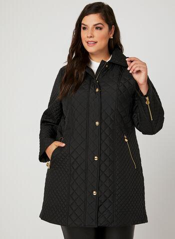 Anne Klein – Quilted Transition Coat, Black, hi-res