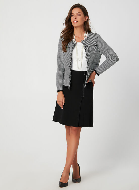 Houndstooth Print Chanel Inspired Cardigan, Black, hi-res
