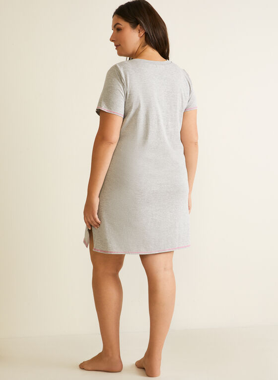 V-Neck Nightshirt , Grey