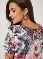 T-shirt floral avec strass et crochet, Rouge, hi-res