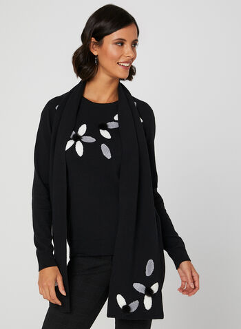 Flower Embroidered Sweater & Scarf, Black, hi-res