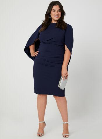 Robe à drapé style cape, Bleu,  robe cocktail, drapé, cape, plis, crêpe, automne hiver 2019