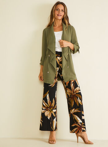 Floral Print Wide Leg Pants, Black,  pants, wide leg, pull-on, floral, jersey, spring summer 2020