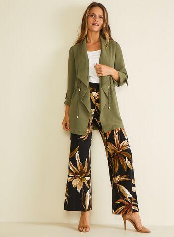 Pantalon fleuri à jambe large, Noir,  pantalon, pull-on, palazzo, jersey, jambe large, floral, printemps été 2020
