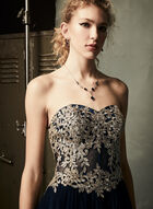 Embroidered Tulle Gown, Blue, hi-res
