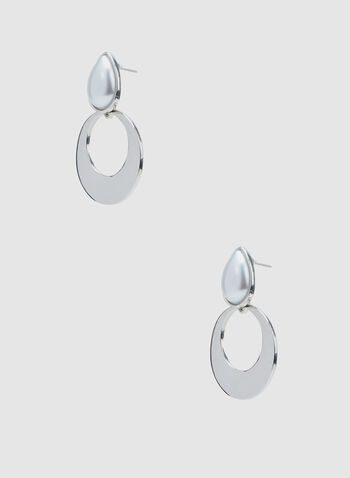 Open Hoop Dangle Earrings, Off White, hi-res